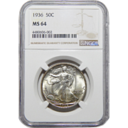 1936 Ngc MS64 Walking Liberty Half Dollar