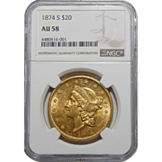 1874-S Ngc AU58 $20 Liberty Head Gold