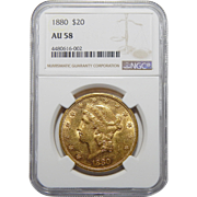 1880 Ngc AU58 $20 Liberty Head Gold