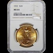 1922 Ngc MS64 $20 St Gaudens