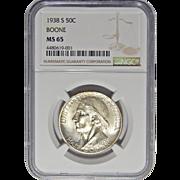 1938-S Ngc MS65 Boone Half Dollar