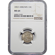 1853 Ngc Arrows MS64 Liberty Seated Dime