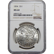 1894 Ngc MS60 Morgan Dollar