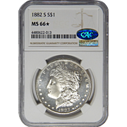 1882-S Ngc/Cac MS66 Morgan Dollar