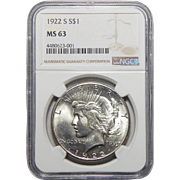 1922-S Ngc MS63 Morgan Dollar