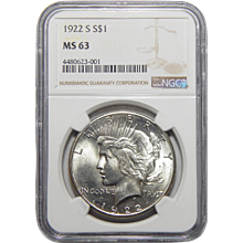 1922-S Ngc MS63 Morgan Dollar