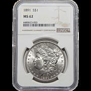1891 Ngc MS62 Morgan Dollar