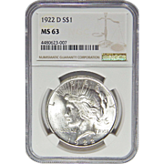 1922-D Ngc MS63 Morgan Dollar