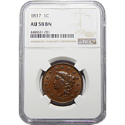 1837 Ngc AU58BN Coronet Head Large Cent