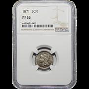 1871 Ngc PF63 Three-Cent Nickel