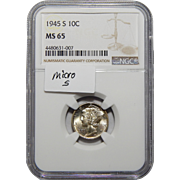 1945-S Ngc MS65 Micro S Mercury Dime