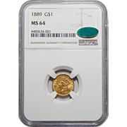1889 Ngc/Cac MS64 Gold Dollar