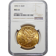 1892-S Ngc MS61 $20 Liberty Head Gold
