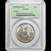 1936 Pcgs MS65 Arkansas Half Dollar