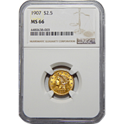1907 Ngc MS66 $2.50 Liberty Head Gold