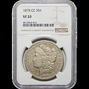 1878-CC Ngc VF20 Morgan Dollar