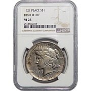 1921 Ngc VF25 High Relief Peace Dollar