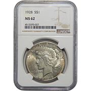 1928 Ngc MS62 Peace Dollar