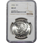 1926 Ngc MS63 Peace Dollar