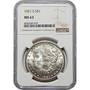 1921-S Ngc MS63 Morgan Dollar