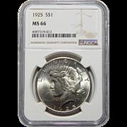 1925 Ngc MS66 Peace Dollar