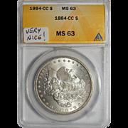 1884-CC Anacs MS63 Morgan Dollar