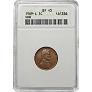 1909-S VDB Anacs XF45BN Lincoln Wheat Cent