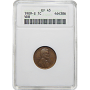 1909-S VDB Anacs XF45BN Lincoln Cent