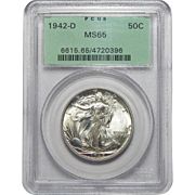1942-D Pcgs MS65 Walking Liberty Half Dollar