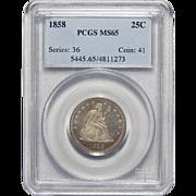 1858 Pcgs MS65 Liberty Seated Quarter