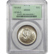 1936-D Pcgs MS66 Texas Half Dollar
