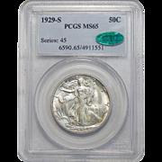 1929-S Pcgs/Cac MS65 Walking Liberty Half Dollar