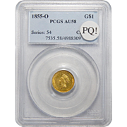 1855-O Pcgs AU58 PQ! One Dollar Gold