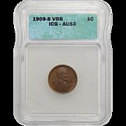 1909-S VDB Icg AU53BN Lincoln Wheat Cent