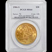 1906-S Pcgs MS64 $20 Liberty Head Gold