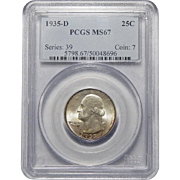 1935-D Pcgs MS67 Washington Quarter