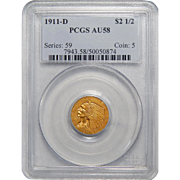 1911-D Pcgs AU58 $2.50 Strong D Indian Gold