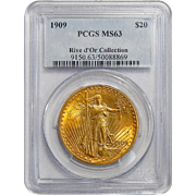 1909 Pcgs MS63 Rive d'Or Collection $20 Saint Gaudens Gold