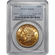 1907-S Pcgs MS64 $20 Liberty Head Gold