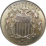 1874 Pcgs PR67 Shield Nickel