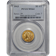 1913 Pcgs MS64 $2.50 Indian Gold
