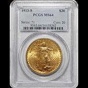 1913-S Pcgs MS64 $20 Saint Gaudens