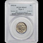 1913-S Type 2 Pcgs MS65 Buffalo Nickel