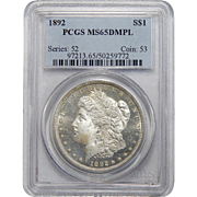 1892 Pcgs MS65DMPL Morgan Dollar