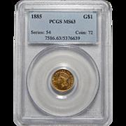 1885 Pcgs MS63 $1 Gold