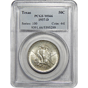 1937-D Pcgs MS66 Texas Half Dollar