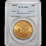 1884-S Pcgs MS62 $20 Liberty Head Gold