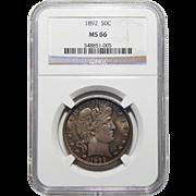 1892 Ngc MS66 Barber Half Dollar