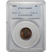1891 Pcgs MS64BN Indian Head Cent