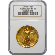 1907 Ngc MS63 $20 High Relief-Wire Edge St. Gaudens